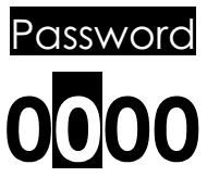9.8.4 Password Mật lệnh Pushing MENU key the display shows: Ấn nút MENU, màn hình hiển thị: With the UP and DOWN arrow keys select the number and